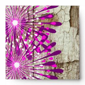 Rustic Country Barn Wood Pink Purple Flowers Envelopes