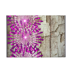 Rustic Country Barn Wood Pink Purple Flowers iPad Mini Cases