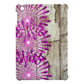 Rustic Country Barn Wood Pink Purple Flowers iPad Mini Covers