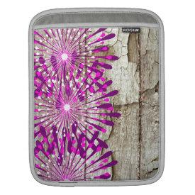 Rustic Country Barn Wood Pink Purple Flowers iPad Sleeve