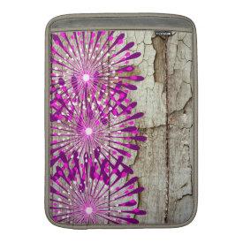 Rustic Country Barn Wood Pink Purple Flowers Sleeves For MacBook Air