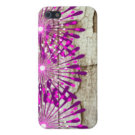 Rustic Country Barn Wood Pink Purple Flowers Cover For iPhone 5/5S