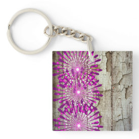 Rustic Country Barn Wood Pink Purple Flowers Acrylic Key Chain