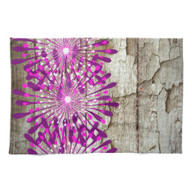 Rustic Country Barn Wood Pink Purple Flowers Kitchen Towel