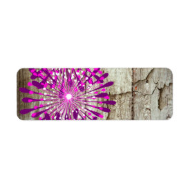 Rustic Country Barn Wood Pink Purple Flowers Return Address Labels
