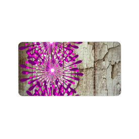 Rustic Country Barn Wood Pink Purple Flowers Custom Address Label