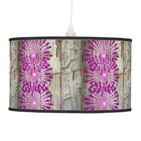 Rustic Country Barn Wood Pink Purple Flowers Pendant Lamp