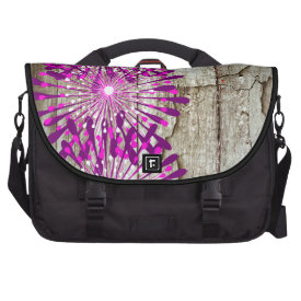 Rustic Country Barn Wood Pink Purple Flowers Commuter Bags