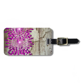 Rustic Country Barn Wood Pink Purple Flowers Tag For Luggage