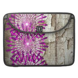 Rustic Country Barn Wood Pink Purple Flowers Sleeves For MacBooks