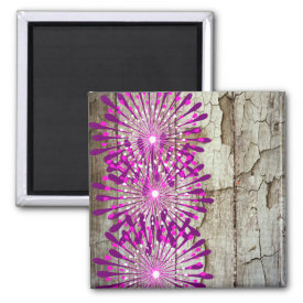 Rustic Country Barn Wood Pink Purple Flowers Magnets