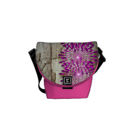 Rustic Country Barn Wood Pink Purple Flowers Courier Bags