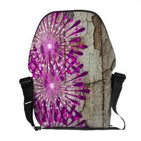 Rustic Country Barn Wood Pink Purple Flowers Messenger Bags