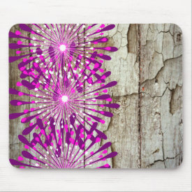 Rustic Country Barn Wood Pink Purple Flowers Mousepads