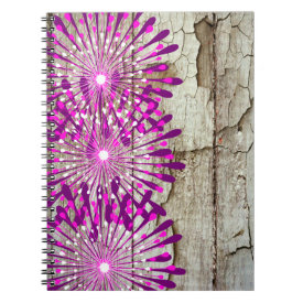 Rustic Country Barn Wood Pink Purple Flowers Note Book