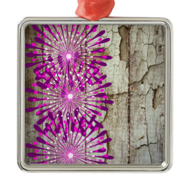 Rustic Country Barn Wood Pink Purple Flowers Ornament