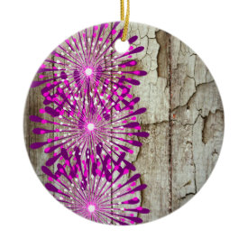 Rustic Country Barn Wood Pink Purple Flowers Ornaments