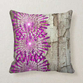 Rustic Country Barn Wood Pink Purple Flowers Throw Pillow