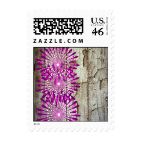 Rustic Country Barn Wood Pink Purple Flowers Postage
