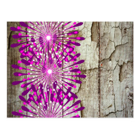 Rustic Country Barn Wood Pink Purple Flowers Postcards