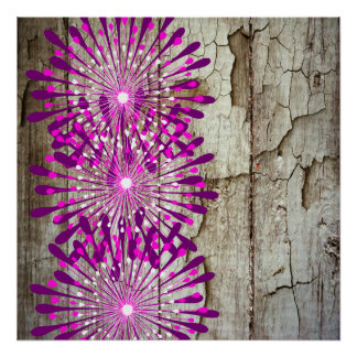 Rustic Country Barn Wood Pink Purple Flowers Poster
