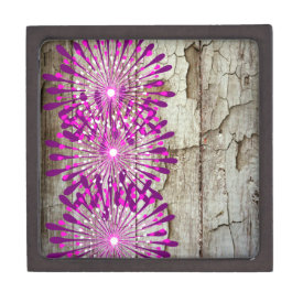 Rustic Country Barn Wood Pink Purple Flowers Premium Trinket Box