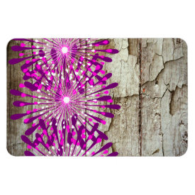 Rustic Country Barn Wood Pink Purple Flowers Flexible Magnet