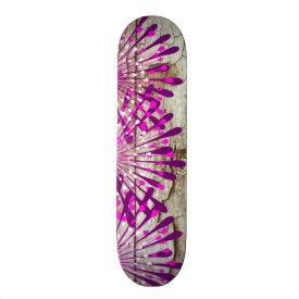 Rustic Country Barn Wood Pink Purple Flowers Custom Skate Board