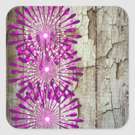 Rustic Country Barn Wood Pink Purple Flowers Square Stickers