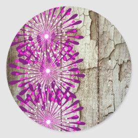 Rustic Country Barn Wood Pink Purple Flowers Round Sticker