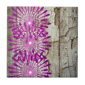 Rustic Country Barn Wood Pink Purple Flowers Tiles