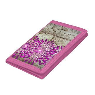 Rustic Country Barn Wood Pink Purple Flowers Tri-fold Wallets
