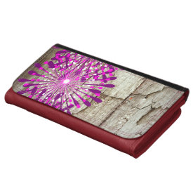 Rustic Country Barn Wood Pink Purple Flowers Wallets