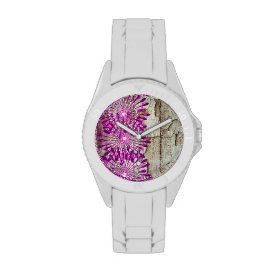 Rustic Country Barn Wood Pink Purple Flowers Wrist Watches