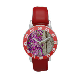 Rustic Country Barn Wood Pink Purple Flowers Wristwatch