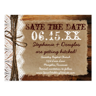 Rustic Country Barn Wood Save the Date Postcards