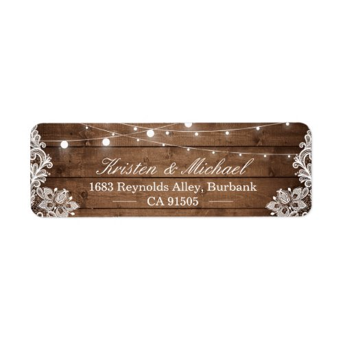 Rustic Country Barn Wood String Lights Lace Label