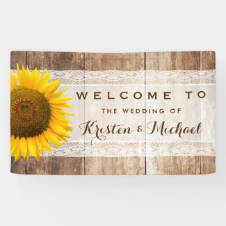 Rustic Country Barn Wood Sunflower Wedding Party Banner