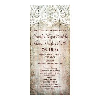 Rustic Country Barn Wood Vertical Wedding Programs Custom Rack Card
