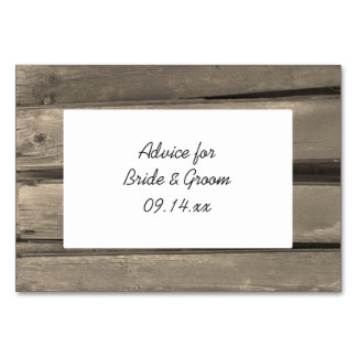 Rustic Country Barn Wood Wedding Advice Cards Table Card