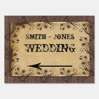 Rustic Country Barn Wood Wedding Direction Sign