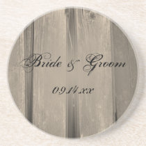 Rustic Country Barn Wood Wedding Drink Coaster
