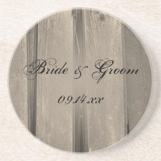 Rustic Country Barn Wood Wedding Drink Coaster