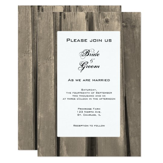 Rustic Country Barn Wood Wedding Invitation
