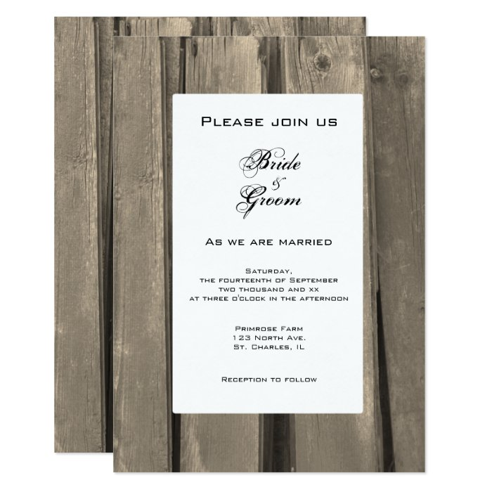 Rustic Country Barn Wood Wedding Invitation