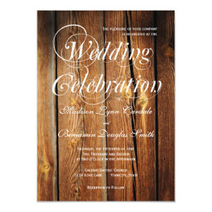 Rustic Country Barn Wood Wedding Invitations Announcement