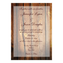 Rustic Country Barn Wood Wedding Invitations