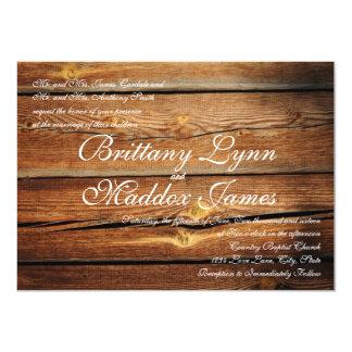 "Rustic Country Barn Wood Wedding Invitations 4.5"" X 6.25"" Invitation Card"