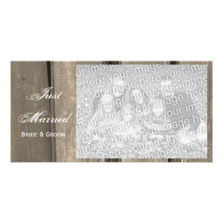 Rustic Country Barn Wood Wedding Just Married Card