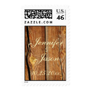 Rustic Country Barn Wood Wedding Postage Stamps